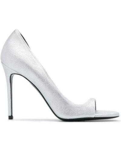 Открытые серебряные туфли на шпильке Maison Ernest