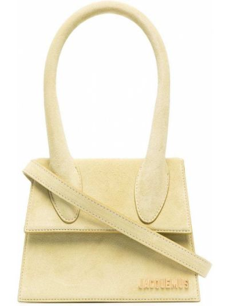 Золотистая кожаная зеленая сумка на плечо Jacquemus
