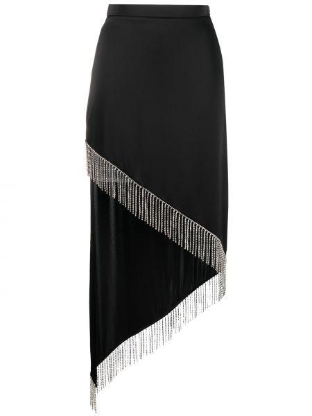 С завышенной талией черная юбка с бахромой David Koma