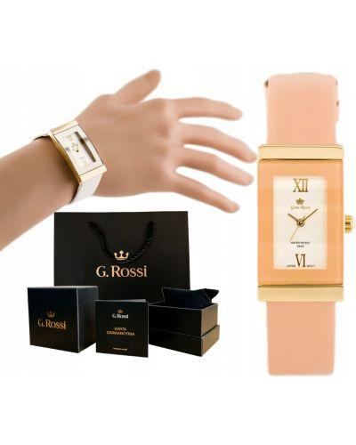 Pomarańczowy złoty zegarek na skórzanym pasku elegancki Gino Rossi