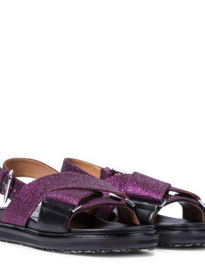 Фиолетовые сандалии с глиттером из вискозы Marni