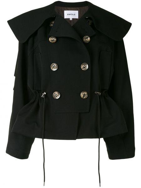 Wełniany czarny długa kurtka dwurzędowy z kołnierzem Enfold