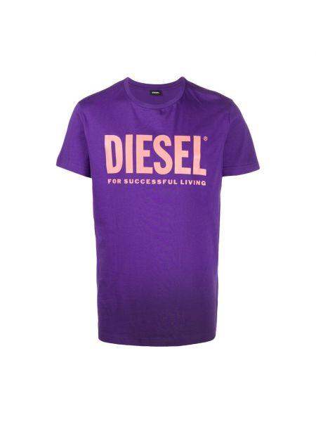 T-shirt z printem - fioletowa Diesel