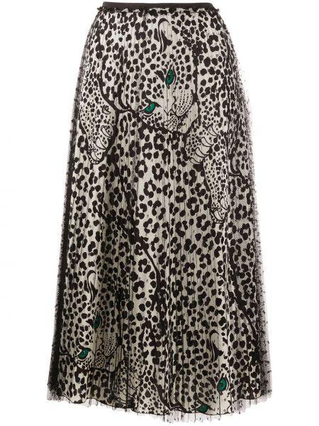 Черная плиссированная юбка на резинке из фатина с сеткой Redvalentino