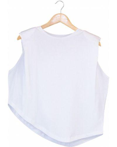 Bluzka asymetryczna - biała Trendyol