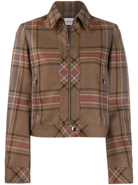 Коричневый приталенный пиджак на молнии с карманами Lanvin
