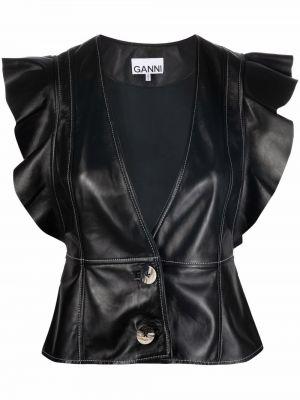 Черная блузка с короткими рукавами Ganni