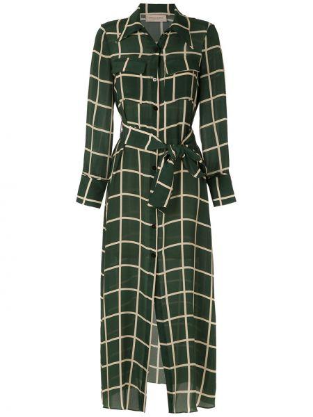 Шелковое зеленое платье макси в клетку Adriana Degreas