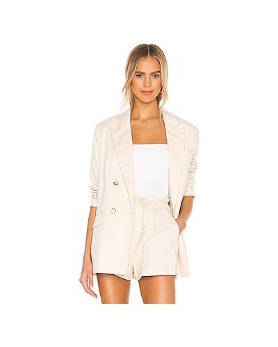 Бежевый шелковый пиджак на пуговицах с карманами L'academie