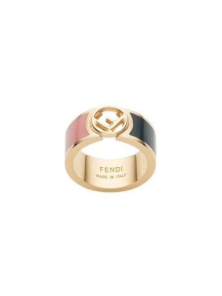 Pierścień metal z ozdobnym wykończeniem Fendi