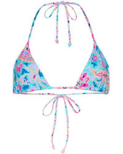 Нейлоновый синий топ в цветочный принт Frankie's Bikinis