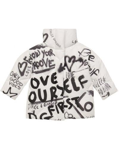 Пуховая куртка - белая Dolce & Gabbana Kids