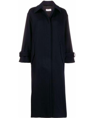 Синее пальто классическое с капюшоном с воротником Alberto Biani