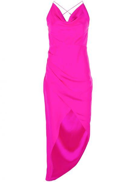Różowa sukienka asymetryczna z jedwabiu Haney