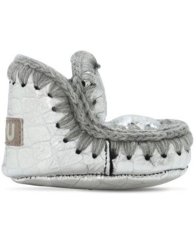 Buty prążkowany srebro Mou