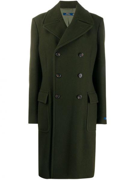 Зеленое шерстяное пальто с воротником Polo Ralph Lauren