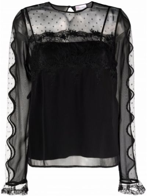 Bluzka koronkowa z długimi rękawami - czarna Red Valentino