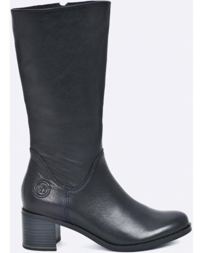 Черные сапоги кожаные Marco Tozzi