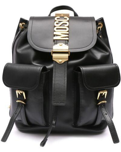 Кожаный рюкзак на молнии черный Moschino