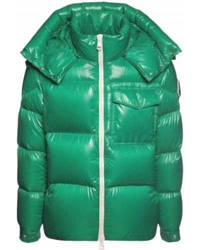 Puchaty zielony kurtka z kapturem z mankietami z kieszeniami Moncler