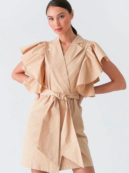 Платье с запахом бежевое Love Republic
