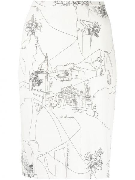 С завышенной талией белая юбка карандаш из вискозы Emilio Pucci