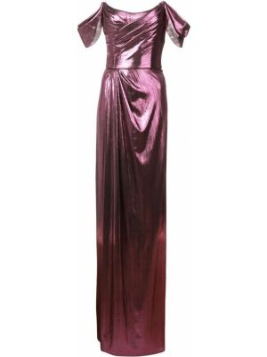 Вечернее платье со складками фиолетовый Marchesa Notte