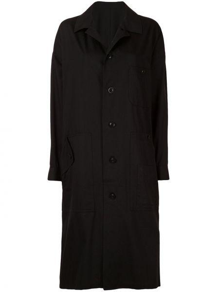Свободное черное длинное пальто оверсайз Y's