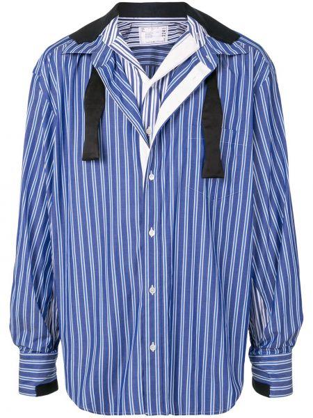 Koszula z długim rękawem z paskami w paski Sacai
