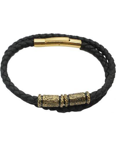 Золотой браслет позолоченный кожаный Swanky
