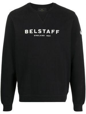 Bawełna z rękawami czarny bluza z łatami Belstaff
