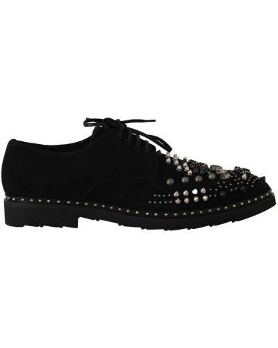 Czarne derby zamszowe sznurowane Dolce And Gabbana