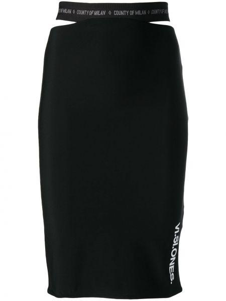 Плиссированная черная с завышенной талией юбка мини Marcelo Burlon. County Of Milan