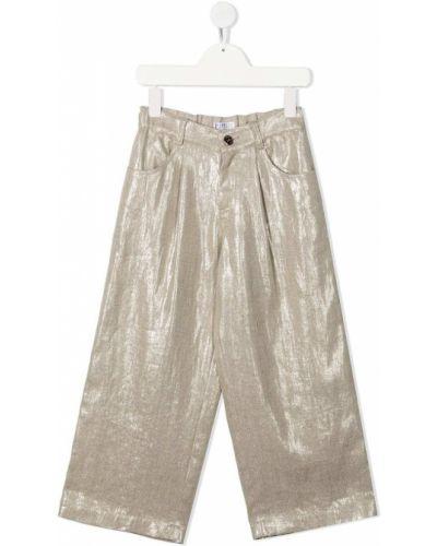 Льняные брюки с карманами свободного кроя Brunello Cucinelli Kids
