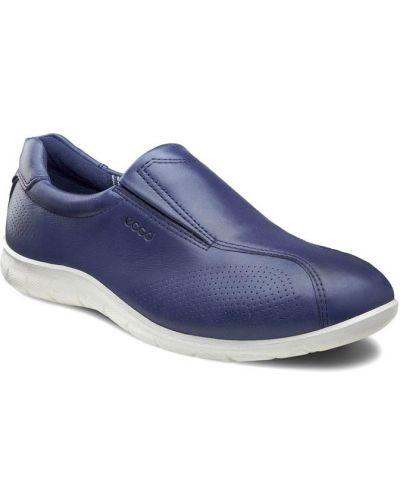 Кожаные кроссовки на резинке текстильные Ecco