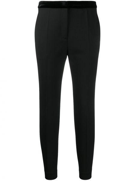 Черные укороченные брюки с поясом на пуговицах Sandro Paris