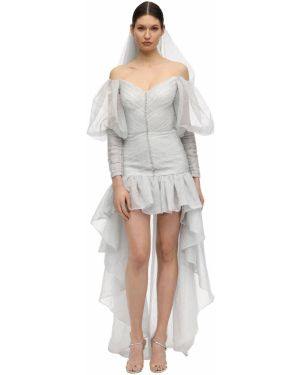 Szara sukienka mini z falbanami srebrna Sandra Mansour
