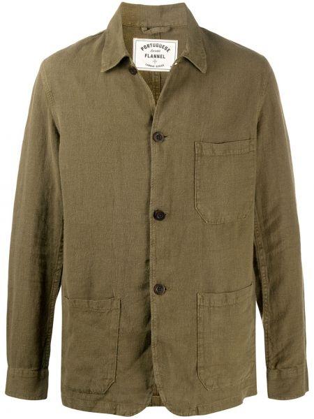 Прямая льняная рубашка с воротником с заплатками Portuguese Flannel
