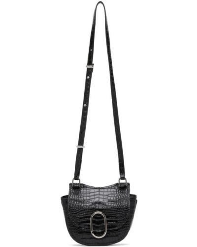 Czarny torba kosmetyczna prążkowany z prawdziwej skóry wytłoczony 3.1 Phillip Lim