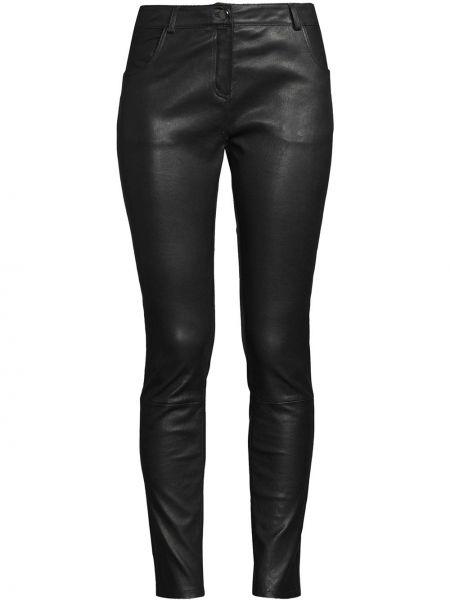 Czarne spodnie skorzane z paskiem Nicole Miller