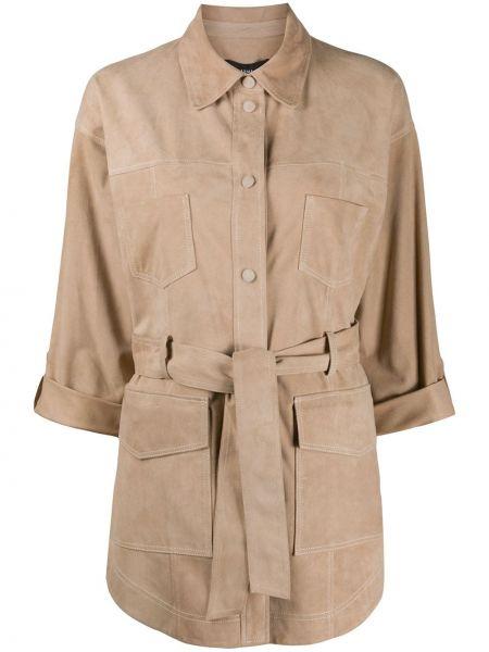 С рукавами кожаная куртка с поясом Arma