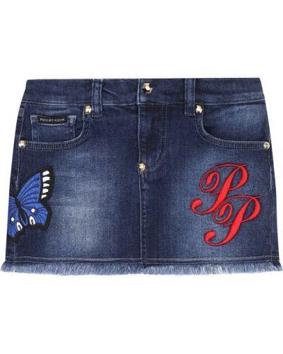 Юбка мини с вышивкой джинсовая Philipp Plein