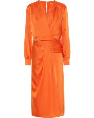 Сатиновое оранжевое прямое платье макси Jonathan Simkhai