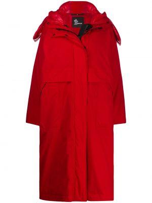 Свободное пальто с капюшоном оверсайз на молнии айвори Moncler Grenoble