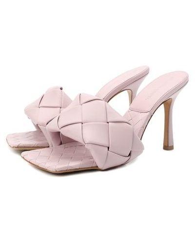 Розовые кожаные мюли с подкладкой Bottega Veneta