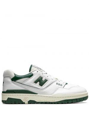 Кожаные белые кроссовки на шнуровке New Balance