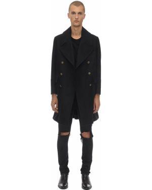 Czarny płaszcz wełniany Bottega Martinese