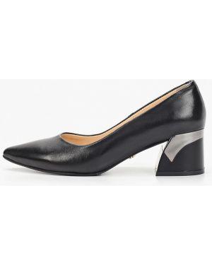 Туфли на каблуке черные кожаные Hestrend