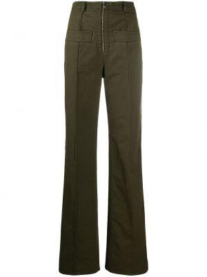 Хлопковые зеленые свободные брюки свободного кроя N21