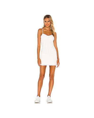 Текстильное белое платье на бретелях Majorelle
